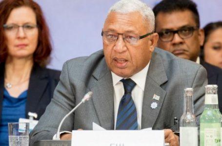 Frank Bainimarama, Perdana Menteri Fiji, berbicara pada Dialog iklim Petersberg di Berlin. (Gambar: France24.com)